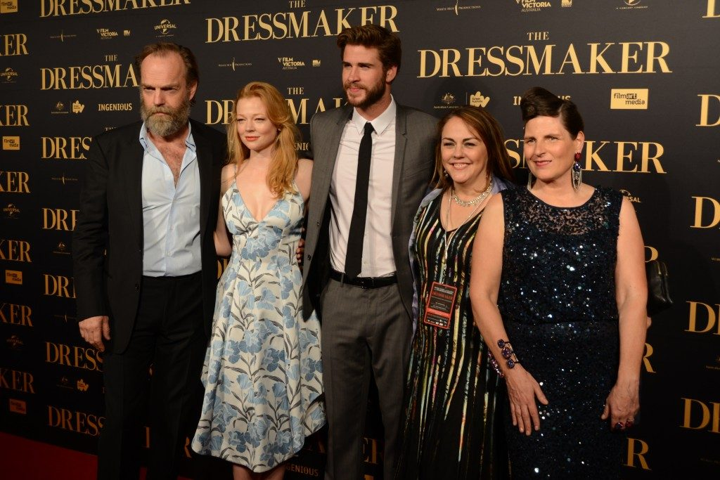 Hugo Weaving, Sarah Snook, Liam Hemsworth, Jocelyn Moorhouse, and Sue Maslin on the red carpet at The Dressmaker Australian premiere.