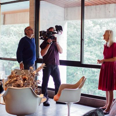 Daryl Dellora, Richard Kickbush & Penelope Seidler filming at Harry & Penelope Seidler House, Killara Sydney