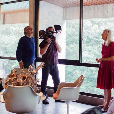 Daryl Dellora, Richard Kickbush & Penelope Seidler filming at Harry & Penelope Seidler House, Killara Sydney