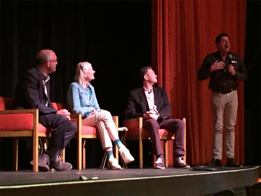 Daryl Dellora, Penelope Seidler and Vladimir Belogolovsky at Harry Seidler: Modernist US premiere in Palm Springs